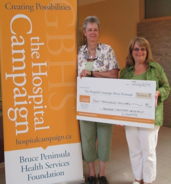Bev Miller, Lioness Treasurer, presented two cheques of $1,000 each for the Hospital Campaign