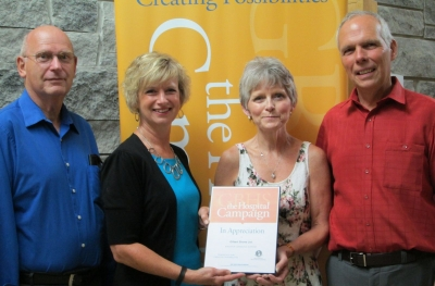 Receiving Wiarton Gilbert Shoes generous donation to the hospital campaign