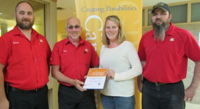 Receiving Wiarton Home Building Centre generous donation to the hospital campaign