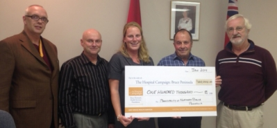 Northern Bruce Peninsula made a commitment to the Hospital Campaign of $100,000